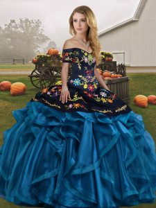 Unique Blue And Black Organza Lace Up Quinceanera Dress Sleeveless Floor Length Embroidery and Ruffles
