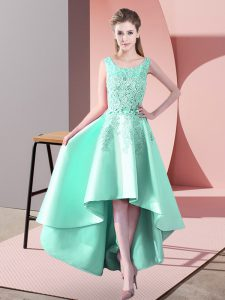 High Low Apple Green Dama Dress for Quinceanera Satin Sleeveless Lace