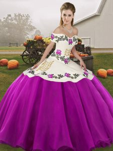 On Sale Floor Length White And Purple Quinceanera Gown Organza Sleeveless Embroidery