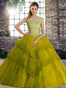 Olive Green Vestidos de Quinceanera Military Ball and Sweet 16 and Quinceanera with Beading and Lace Off The Shoulder Sleeveless Brush Train Lace Up