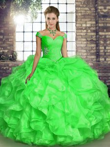 Floor Length Lace Up 15th Birthday Dress for Military Ball and Sweet 16 and Quinceanera with Beading and Ruffles