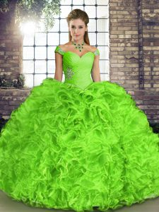 Amazing Organza Sleeveless Floor Length 15 Quinceanera Dress and Beading and Ruffles