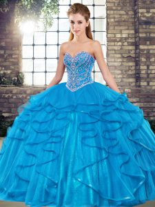 Sweetheart Sleeveless Lace Up Quinceanera Gown Blue Tulle