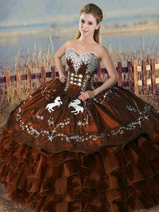 Dynamic Brown Satin and Organza Lace Up Quinceanera Dresses Sleeveless Floor Length Embroidery and Ruffles