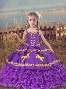 Lavender Straps Lace Up Beading and Embroidery and Ruffled Layers Winning Pageant Gowns Sleeveless