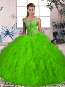 Sleeveless Brush Train Beading and Ruffles Sweet 16 Quinceanera Dress