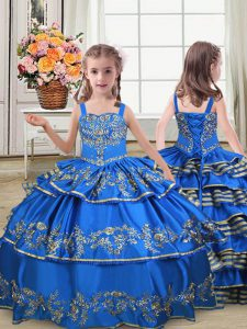 Simple Royal Blue Straps Neckline Embroidery and Ruffled Layers Kids Formal Wear Sleeveless Lace Up