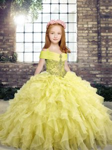 Yellow Sleeveless Floor Length Beading and Ruffles Lace Up Little Girls Pageant Dress Wholesale