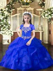 Royal Blue Tulle Lace Up Straps Sleeveless Floor Length Girls Pageant Dresses Beading and Ruffles