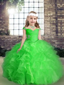 Little Girls Pageant Dress Wholesale For with Beading and Ruffles Straps Sleeveless Lace Up