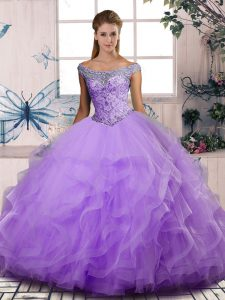 Adorable Lavender Tulle Lace Up Sweet 16 Quinceanera Dress Sleeveless Floor Length Beading and Ruffles