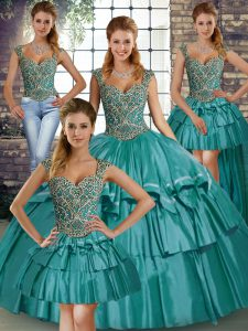 Sleeveless Taffeta Floor Length Lace Up Custom Made in Teal with Beading and Ruffled Layers