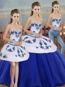 Stunning Royal Blue Lace Up Sweetheart Embroidery and Bowknot Sweet 16 Dress Tulle Sleeveless