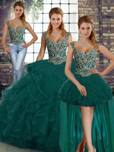 Sexy Peacock Green Lace Up Straps Beading and Ruffles Ball Gown Prom Dress Tulle Sleeveless