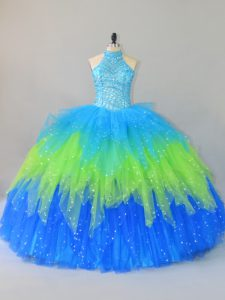 Traditional Multi-color Halter Top Lace Up Beading and Ruffles Vestidos de Quinceanera Sleeveless