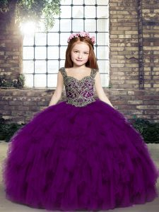 High End Purple Straps Lace Up Beading and Ruffles Custom Made Pageant Dress Sleeveless