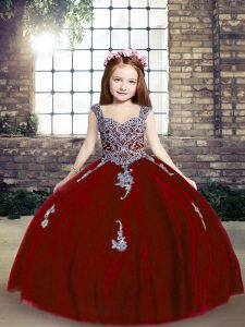 Ball Gowns Glitz Pageant Dress Red Straps Tulle Sleeveless Floor Length Lace Up