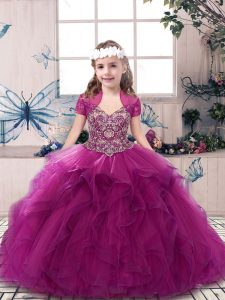 Fuchsia Ball Gowns Tulle Straps Sleeveless Beading and Ruffles Floor Length Lace Up Little Girls Pageant Gowns