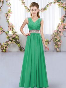New Style Chiffon Sleeveless Floor Length Quinceanera Court Dresses and Beading and Belt