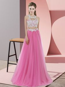 Custom Made Two Pieces Damas Dress Rose Pink Halter Top Tulle Sleeveless Floor Length Zipper