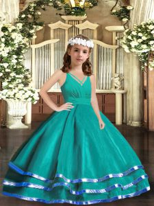 Turquoise V-neck Zipper Ruffled Layers Pageant Dress for Girls Sleeveless