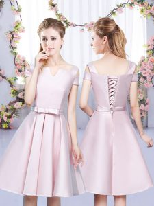 New Style Sleeveless Satin Mini Length Lace Up Court Dresses for Sweet 16 in Baby Pink with Bowknot