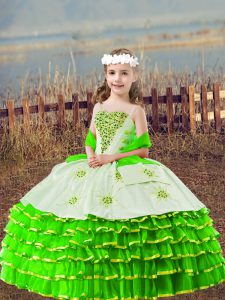 Organza Lace Up Straps Sleeveless Floor Length Little Girls Pageant Dress Beading and Embroidery and Ruffled Layers