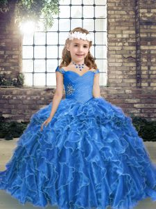 Fashion Floor Length Ball Gowns Sleeveless Blue Kids Formal Wear Lace Up