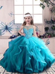 Luxurious Tulle Scoop Sleeveless Lace Up Beading and Ruffles Little Girls Pageant Dress in Blue