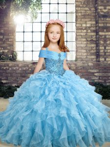 Blue Lace Up Straps Beading and Ruffles Glitz Pageant Dress Organza Sleeveless
