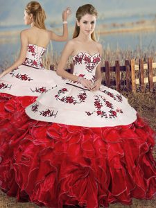Admirable White And Red Sleeveless Floor Length Embroidery and Ruffles Lace Up Sweet 16 Quinceanera Dress