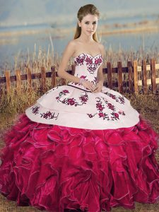 Fuchsia Sweetheart Neckline Embroidery and Ruffles and Bowknot Quinceanera Gown Sleeveless Lace Up