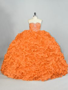 Beauteous Beading and Ruffles Sweet 16 Dress Orange Lace Up Sleeveless