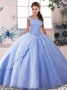 Customized Lavender 15 Quinceanera Dress Tulle Brush Train Sleeveless Beading