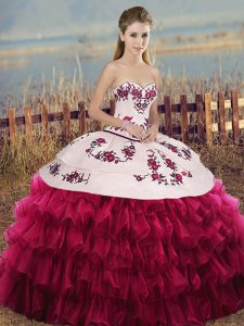 Modest White And Red Organza Lace Up Sweetheart Sleeveless Floor Length Quinceanera Gowns Embroidery and Ruffled Layers and Bowknot