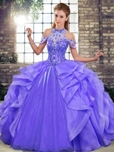 Artistic Purple Organza Lace Up Vestidos de Quinceanera Sleeveless Floor Length Beading and Ruffles