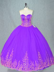 Sweetheart Sleeveless Lace Up 15 Quinceanera Dress Purple Tulle