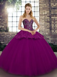 Superior Fuchsia Tulle Lace Up Sweetheart Sleeveless Floor Length Party Dress Wholesale Beading and Appliques