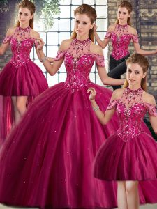 Sleeveless Tulle Brush Train Lace Up 15 Quinceanera Dress in Fuchsia with Beading