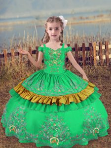 Customized Turquoise Lace Up Off The Shoulder Beading and Embroidery Pageant Gowns For Girls Satin Sleeveless