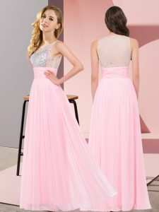 Elegant Floor Length Side Zipper Dama Dress Baby Pink for Wedding Party with Beading