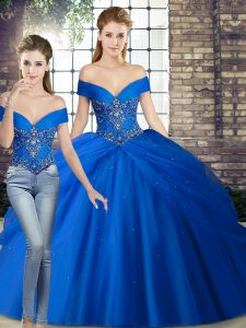 Super Royal Blue Vestidos de Quinceanera Off The Shoulder Sleeveless Brush Train Lace Up