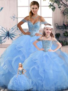 Wonderful Blue Sleeveless Tulle Lace Up Quinceanera Dress for Sweet 16 and Quinceanera