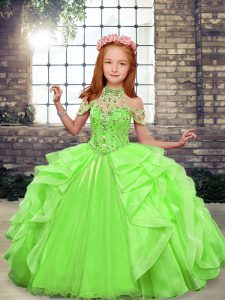 Sleeveless Beading and Ruffles Lace Up Girls Pageant Dresses