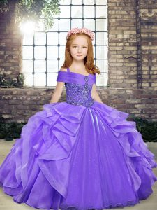 Nice Floor Length Lace Up Child Pageant Dress Lavender for Party and Wedding Party with Beading and Ruffles