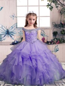 Floor Length Lavender Evening Gowns Organza Sleeveless Beading and Ruffles