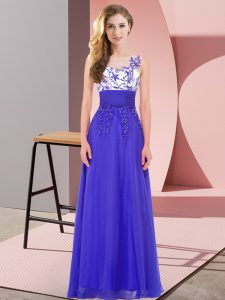 Scoop Sleeveless Quinceanera Court of Honor Dress Floor Length Appliques Blue Chiffon