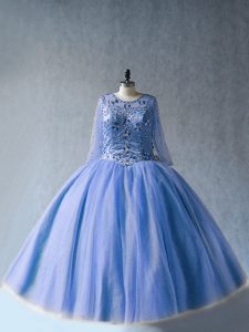 On Sale Floor Length Blue 15 Quinceanera Dress Tulle Long Sleeves Beading