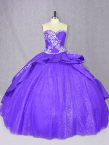 Lace Up Sweet 16 Dresses Purple for Sweet 16 and Quinceanera with Embroidery Court Train