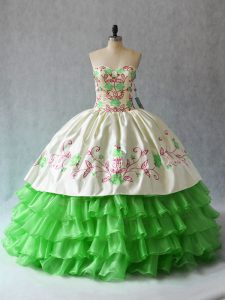 Eye-catching Sleeveless Organza Floor Length Lace Up Sweet 16 Dress in with Embroidery and Ruffled Layers